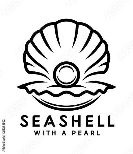 Canvas Print seashell with pearl outline icon
