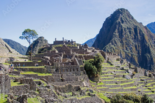 Deurstickers Grijs Machu Picchu Inca Ruins