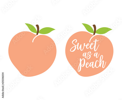 "Leinwand Poster Peach logo with quote ""Sweet as a Peach"" vector illustration."