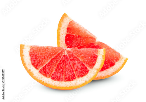 two sliced grapefruit isolated on white background