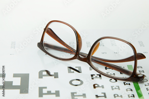 Fotomural  The Diagram of checking eyes glasses Optometry medical background