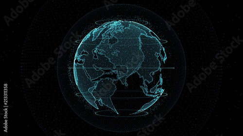 fototapeta na drzwi i meble 3D rendering of earth animation.