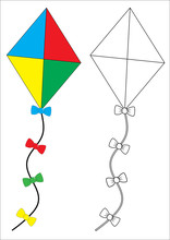 Kite. Coloring Book, Game For Fids. Vector Illustration.