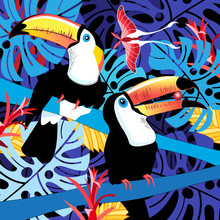 Illustration Of Toucans In The...