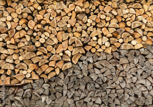 Poster Firewood texture Stack of chopped firewood prepared for winter. wood background