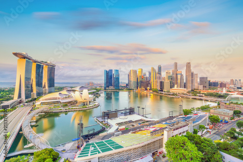 Spoed Fotobehang Asia land Singapore downtown skyline bay area