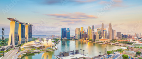 Poster Lieu connus d Asie Singapore downtown skyline bay area