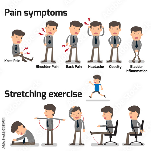 Fotografía Business man have office syndrome symptoms and effect to organs infographics