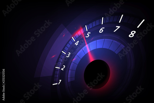 Fotografie, Obraz  Speed motion background with fast speedometer car