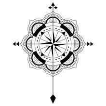 Mandala Vektor Mit Windrose Auf Einem Isolierten Weißen Hintergrund.