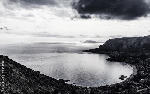 Keuken foto achterwand Grijze traf. Black and White Mondello Bay on Sicily, Italy