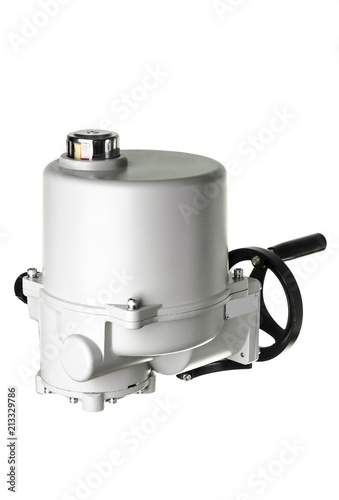 Photo Small electric drive (actuator) gray colour for valves