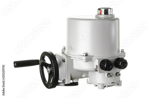 Small electric drive (actuator) gray colour for valves Canvas Print
