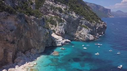 Sardinia cala aerial view shot from 4k drone