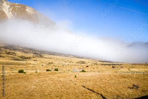 Fotobehang Oceanië Mountain fields landscape in New Zealand