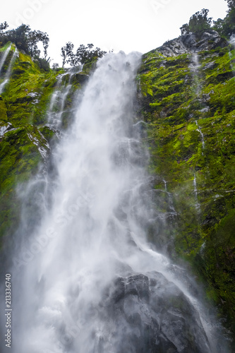 Foto op Canvas Oceanië Waterfall in Milford Sound lake, New Zealand