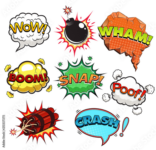 comic speech bubbles sound effects illustration buy this stock