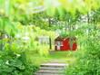 Leinwanddruck Bild - イングリッシュガーデンの赤い家