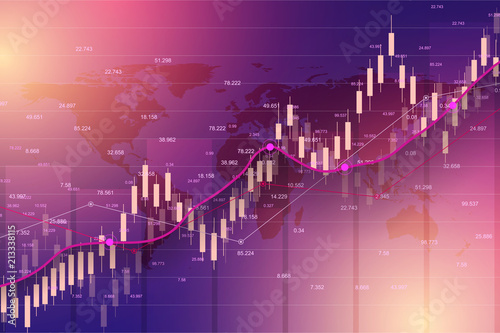 Fotografie, Obraz  Stock market or forex trading graph chart suitable for financial investment concept