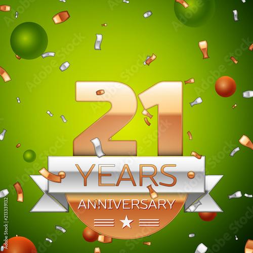 Poster  Realistic Twenty one Years Anniversary Celebration design banner