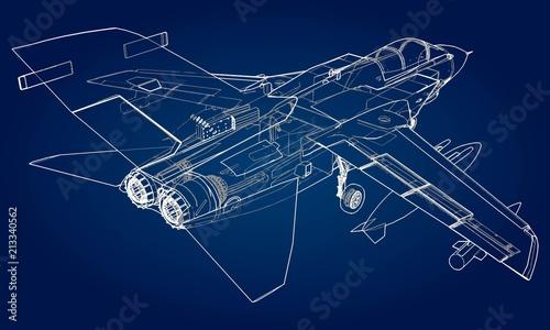 Fotografia Military jet fighter silhouettes