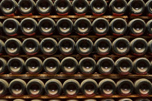 Stack Of Wine Bottles In Winery