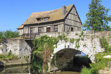 Old Timbered Water Mill Over T...
