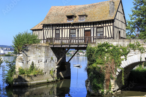 Valokuvatapetti Old timbered water mill over the Seine, Vernon, Normandy France