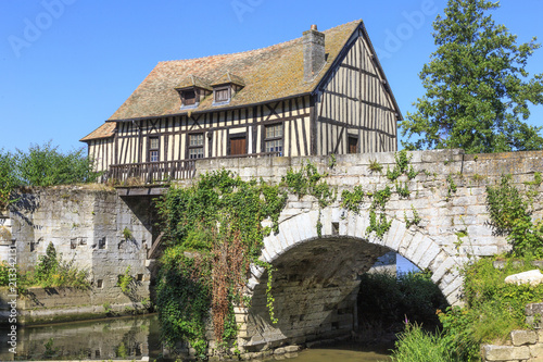 Fotografering Old timbered water mill over the Seine, Vernon, Normandy France