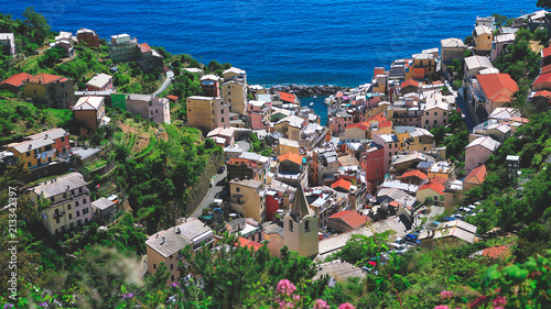 Tuinposter Liguria Panoramic view of Manarola, Italy