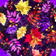Seamless autumn pattern with leaves. Vector Colorful background for wallpaper, gift paper, greeting cards, wrapping, textile, print.