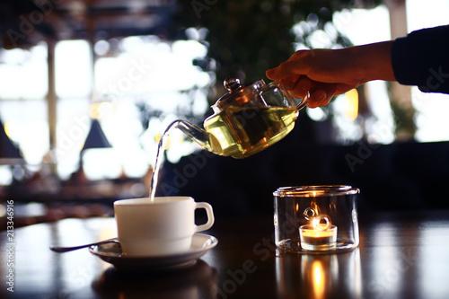 Cuadros en Lienzo cup teapot drink hot cafe