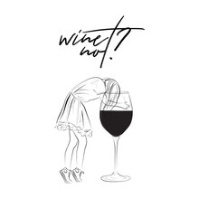 Wine Not Modern Illustration. Teen Girl In T-shirt, Fluffy Skirt And Keds With Huge Glass Of Wine. Line Art Sketch