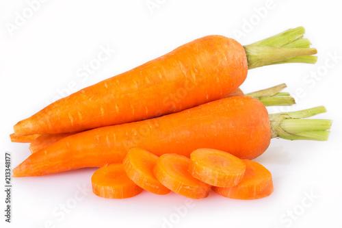 Obraz Fresh carrot on white background - fototapety do salonu