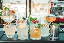 Bartender Making Alcoholic Cocktails! Cocktail Bar In Summer