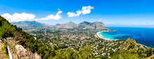 Panoramic View Of The Seaside Resort Town Of Mondello In Palermo, Sicily. White Beach And Turquoise Crystal Clear Sea. HD View Of The Gulf From The Top Of Monte Pellegrino.