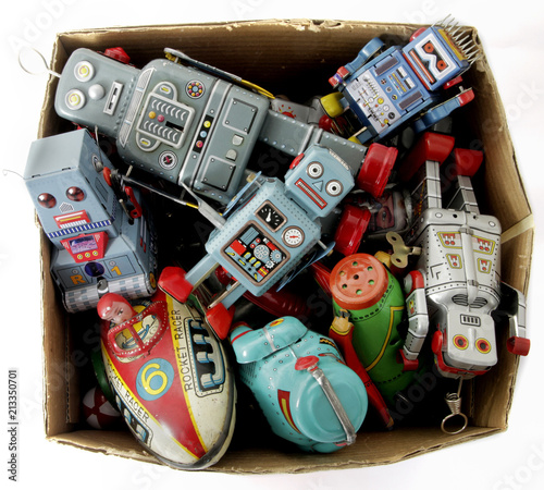 lots of retro toy in a wooden box