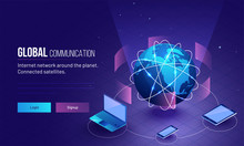 Global Network Or Communication Concept Based Responsive Landing Page Design With 3D Illustration Of Earth Planet Connected With Three Digital Device.