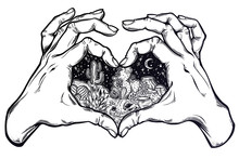 Two Hands Making Heart Sign Wi...