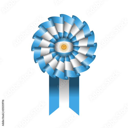 Argentina detailed silk rosette flag, eps10 vector illustration Canvas Print