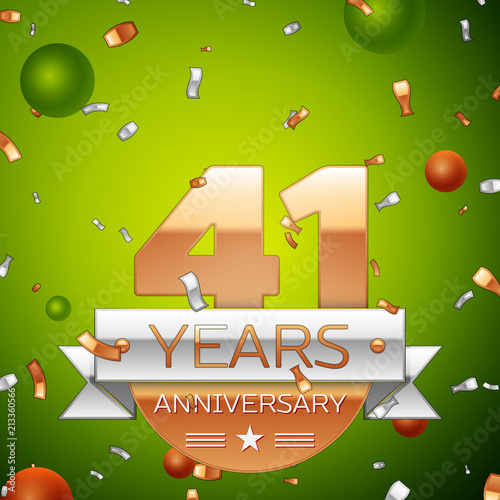 Fotografia  Realistic Forty one Years Anniversary Celebration design banner