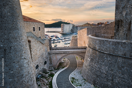 Old town of Dubrovnik, Croatia with view to the harbor Wallpaper Mural
