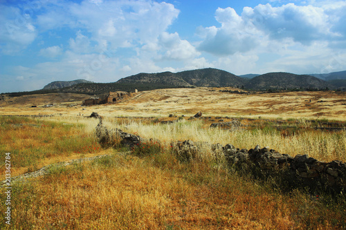 Spoed Foto op Canvas Natuur Ancient theater in Hierapolis, front of view, Turkey,Pamukkale