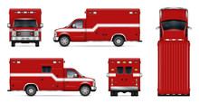 Realistic Fire Engine Vector Illustration