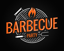 Barbecue Grill Logo On Black B...