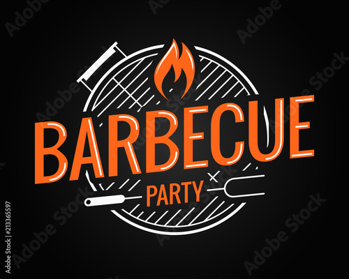 Photo Barbecue grill logo on black background