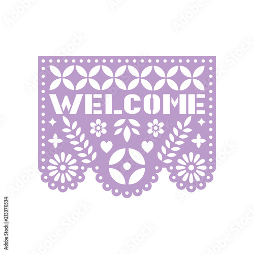 Fotografija  Bright paper with cut out flowers, geometric shapes and text Welcome