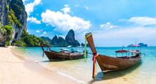 Long Tail Boat Tropical Beach, Krabi, Thailand