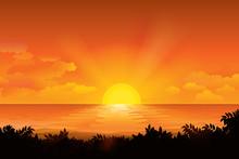 Sunset On The Horizon Over The Sea Landscape. Vector Illustration