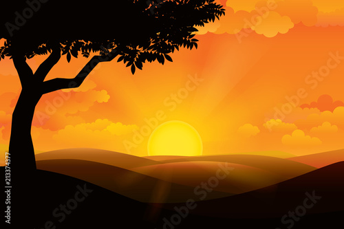 Staande foto Zwart Sunset on the horizon over the mountain landscape. Vector illustration